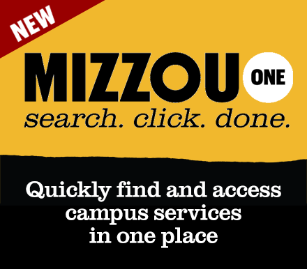 New: MizzouOne Search. Click. Done. Quickly find and access campus services in one place.