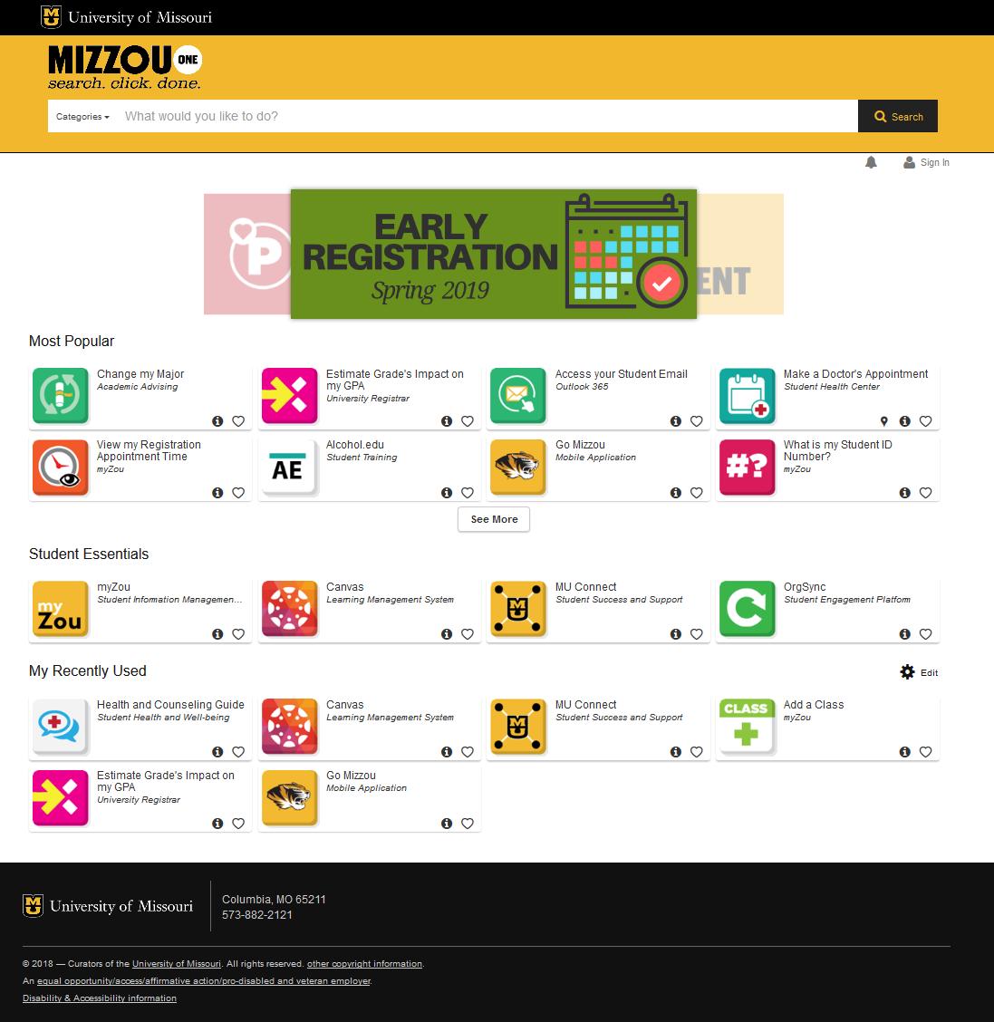 screenshot of mizzouone